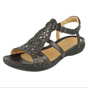 Clarks Unstructured Black Valencia Sandal